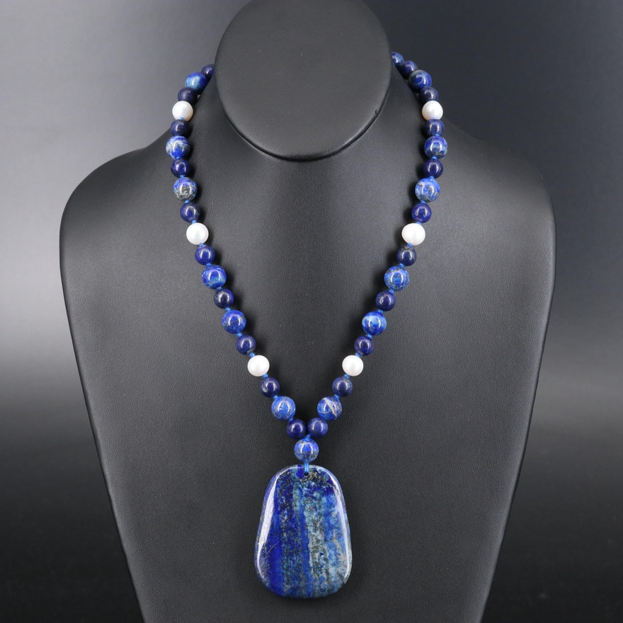Lapis Lazuli and Pearl Necklace with Sterling Clasp