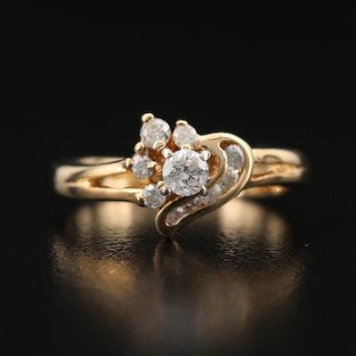10K Diamond Swirl Ring