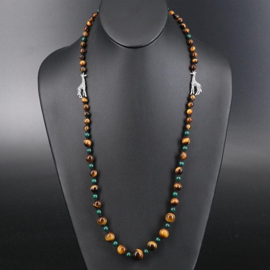Sterling Tiger's Eye Quartz, Malachite and Marcasite Graduated Giraffe Necklace