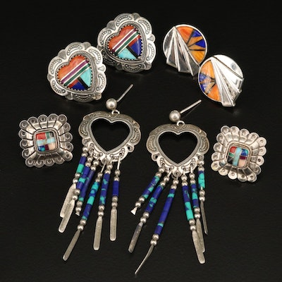 Southwestern Sterling Earring Selection Including Quoc Turquoise Inc.