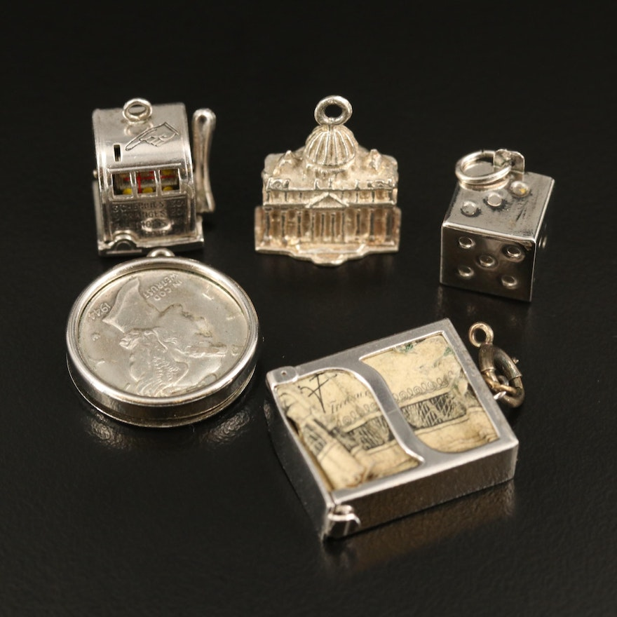 Sterling Money and Gambling Themed Charms Including 1944 Mercury Dime