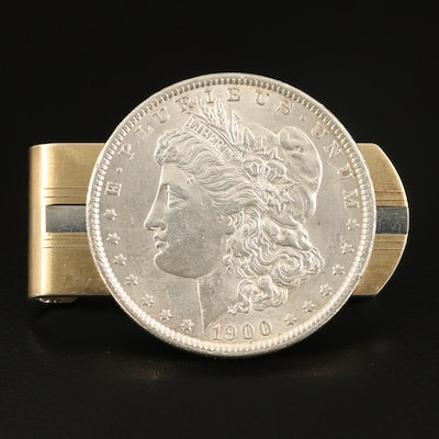 Vintage Anson Sterling Money Clip with 18K Accents and 1900 Morgan Silver Dollar