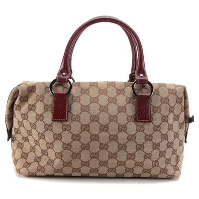 Gucci Boston Bag in GG Canvas with Red Brown Leather Trim