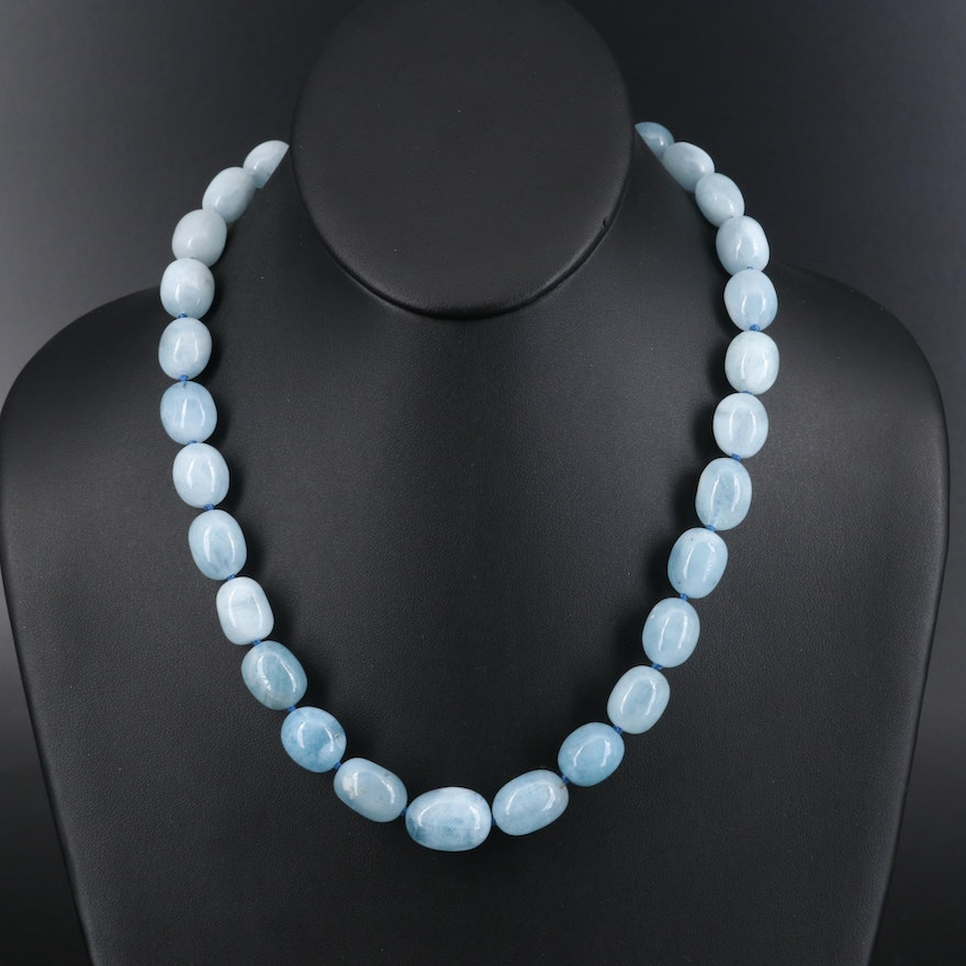 Beryl Graduated Bead Necklace with Sterling Clasp