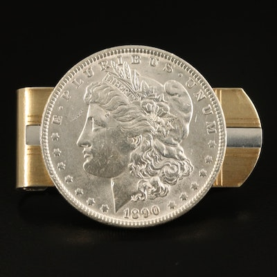 Anson Sterling Money Clip with 18K Accents and 1900 Morgan Silver Dollar