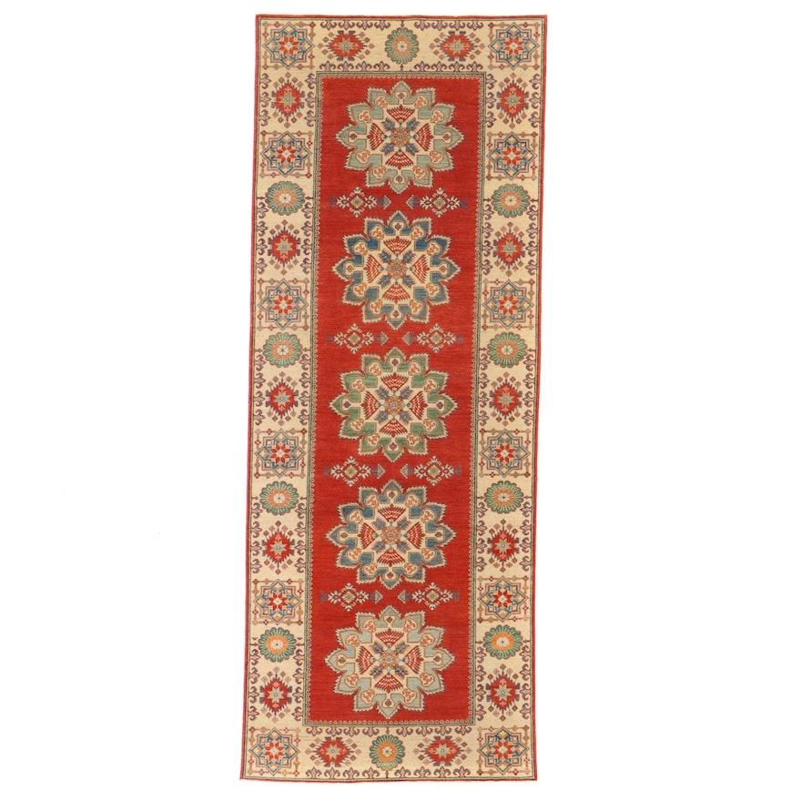 4'10 x 13' Hand-Knotted Indo-Caucasian Kazak Long Rug