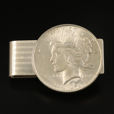 Vintage Sterling Money Clip with 1922 Peace Silver Dollar