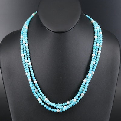 Turquoise and Pearl Triple Strand Necklace with Sterling Clasp