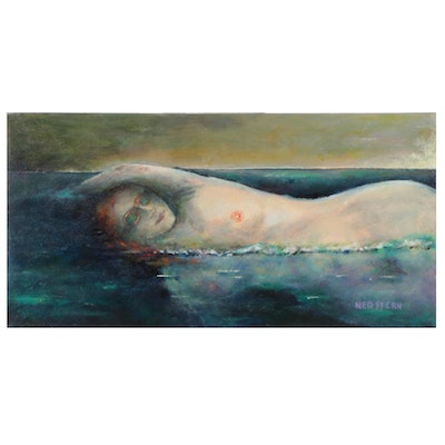 """Ned Stern Acrylic Painting """"Swimming Nude,"""" 2011"""