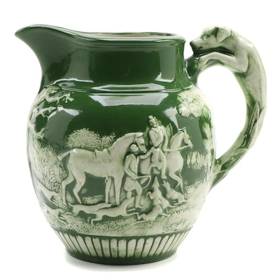 Green High Glaze Ceramic Pitcher with Relief Hunting Scene