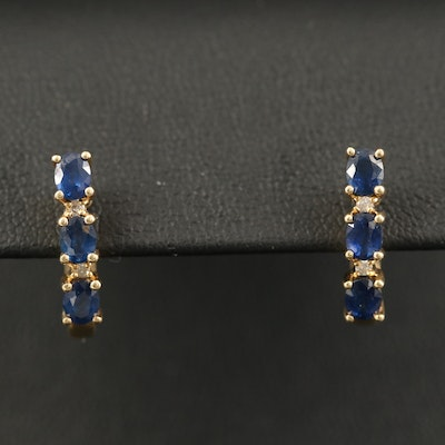 14K Sapphire and Diamond Hoop Earrings