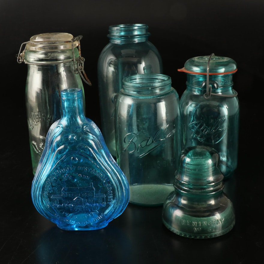 Ball Blue Glass and Other Jars with Hemingray No.40 Insulator, Early-Mid 20th C.