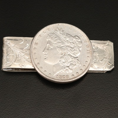 Sterling Silver Engraved Money Clip with 1878-S Morgan Silver Dollar