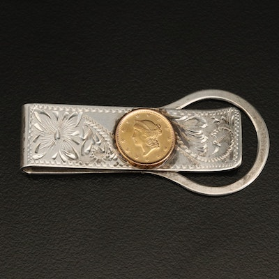 Sterling Silver Engraved Money Clip with Liberty Head Type I Gold Dollar