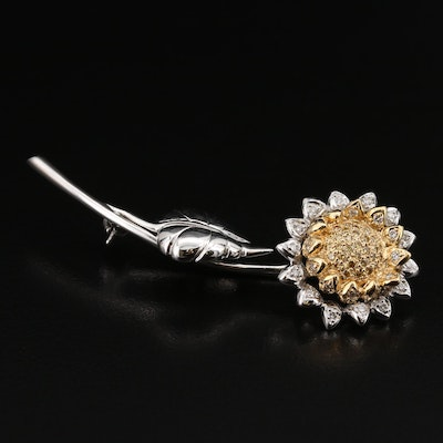 14K Diamond Sunflower Brooch
