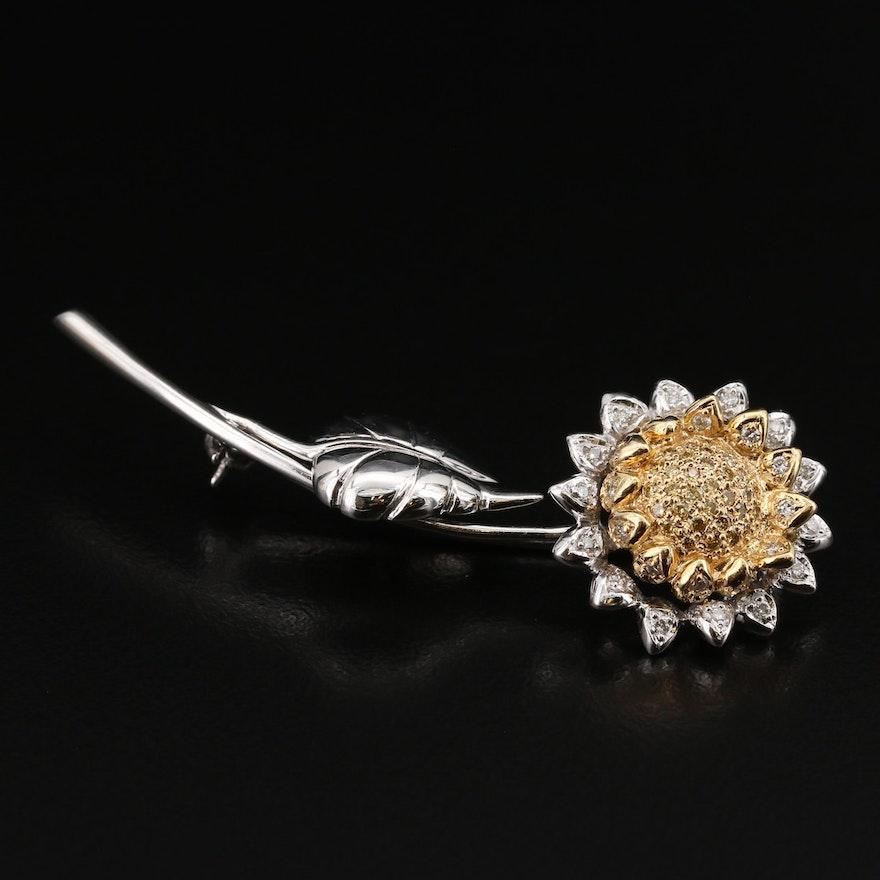14K Diamond Sunflower Brooch