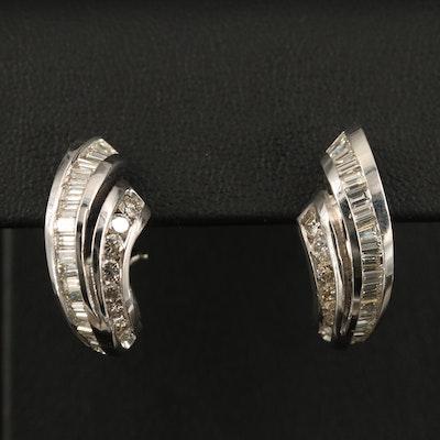 14K 1.90 CTW Diamond J-Hoop Earrings