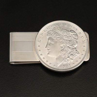 Tiffany & Co. Sterling Silver Money Clip with 1921 Morgan Silver Dollar