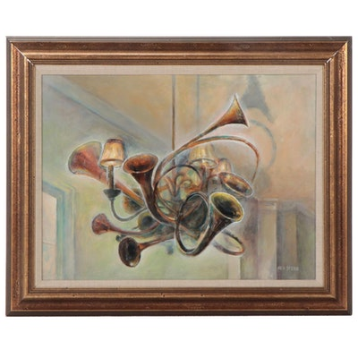 """Ned Stern Acrylic Painting """"Maggie's Chandelier,"""" Late 20th Century"""