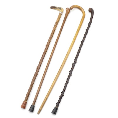 Collection of Wooden Canes Featuring Tiffany Sterling