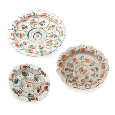 Chinese Porcelain Hand-Painted Offering Plates