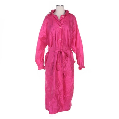 Sonia Rykiel Paris Fuchsia Pink Full-Length Foldable Raincoat with Foldable Hood