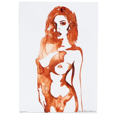 Alyona Glushchenko Watercolor Painting of Standing Nude, 2020