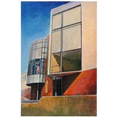 """Ned Stern Acrylic Painting """"Robert S. Marx Playhouse in the Park,"""" 2015"""