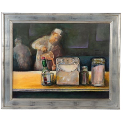 """Ned Stern Acrylic Painting """"Lunch Counter Man,"""" Late 20th Century"""
