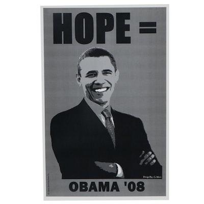 "Photomechanical Print after G. Mann ""Hope = Obama '08"""