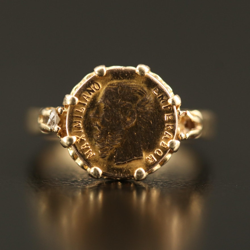 14K Ring with 10K Reproduction Foreign Coin