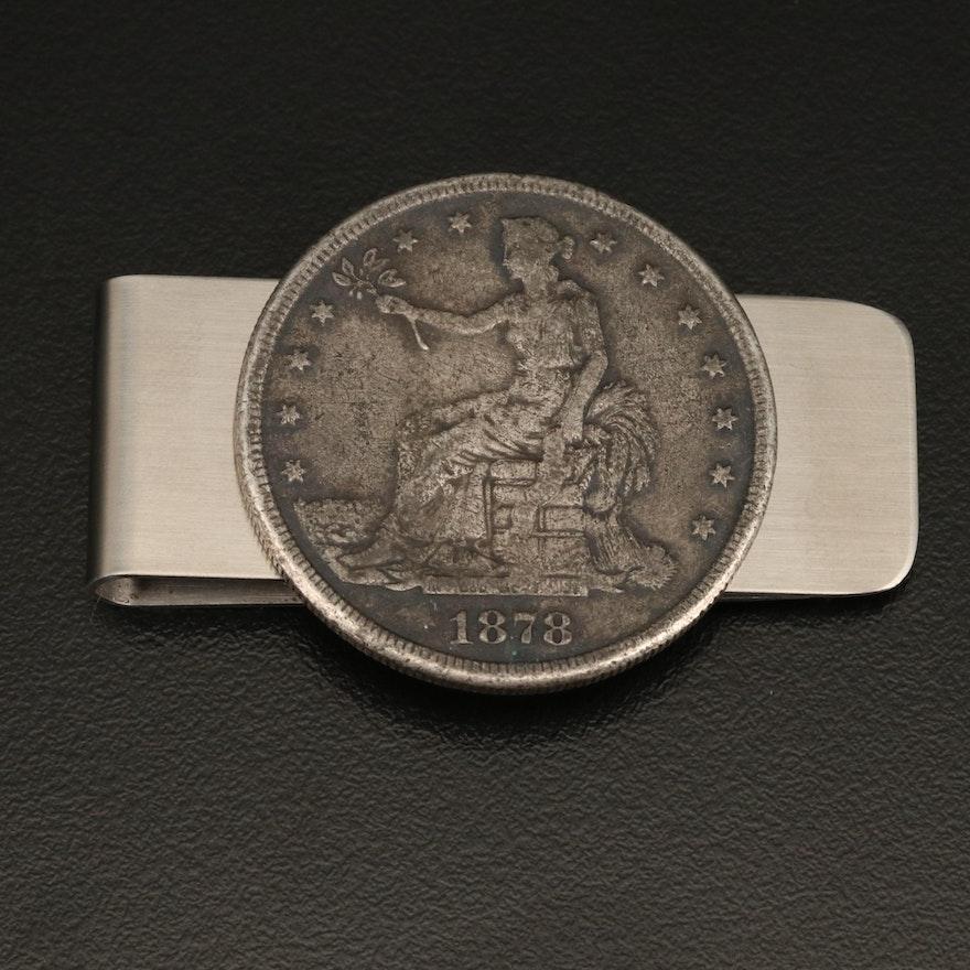 Money Clip with 1878 Trade Dollar Reproduction Coin
