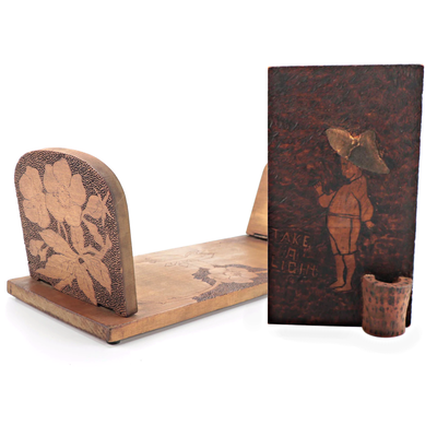 Hobbyist Pyrography Wall Match Holder with Tabletop Book Shelf