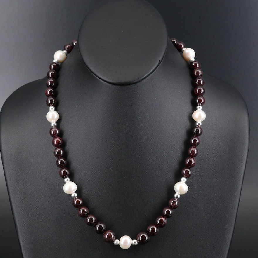 Sterling Garnet and Pearl Beaded Necklace