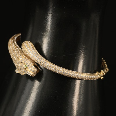 18K Cubic Zirconia Feline Bangle
