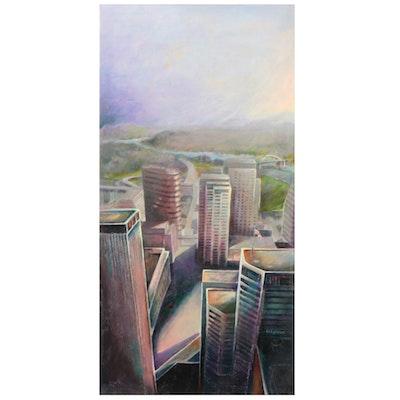 "Ned Stern Acrylic Painting ""Sunday Morning,"" Late 20th Century"