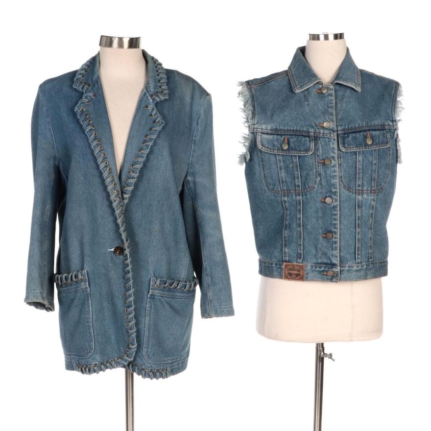 Gitano and Regina Porter Blue Denim Vest and Jacket