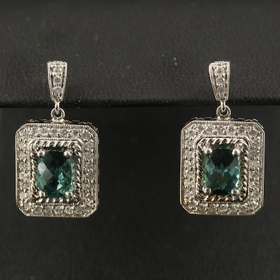 14K Tourmaline and Diamond Dangle Earrings