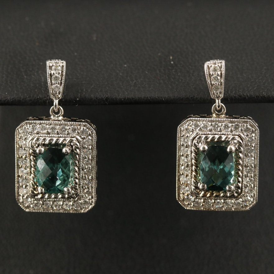 14K Tourmaline and Diamond Dangle Earrings