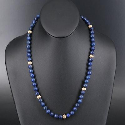 14K Lapis Lazuli Beaded Necklace