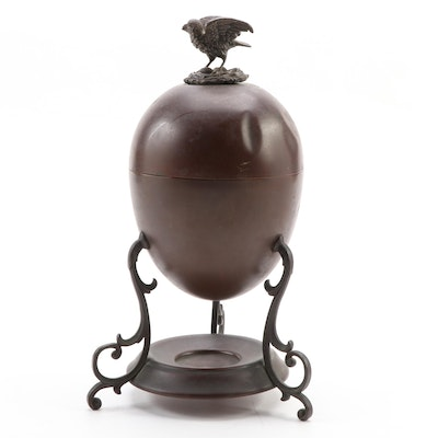 English Copper Egg Coddler with Bird and Nest Finial, Late 19th/ Early 20th C.