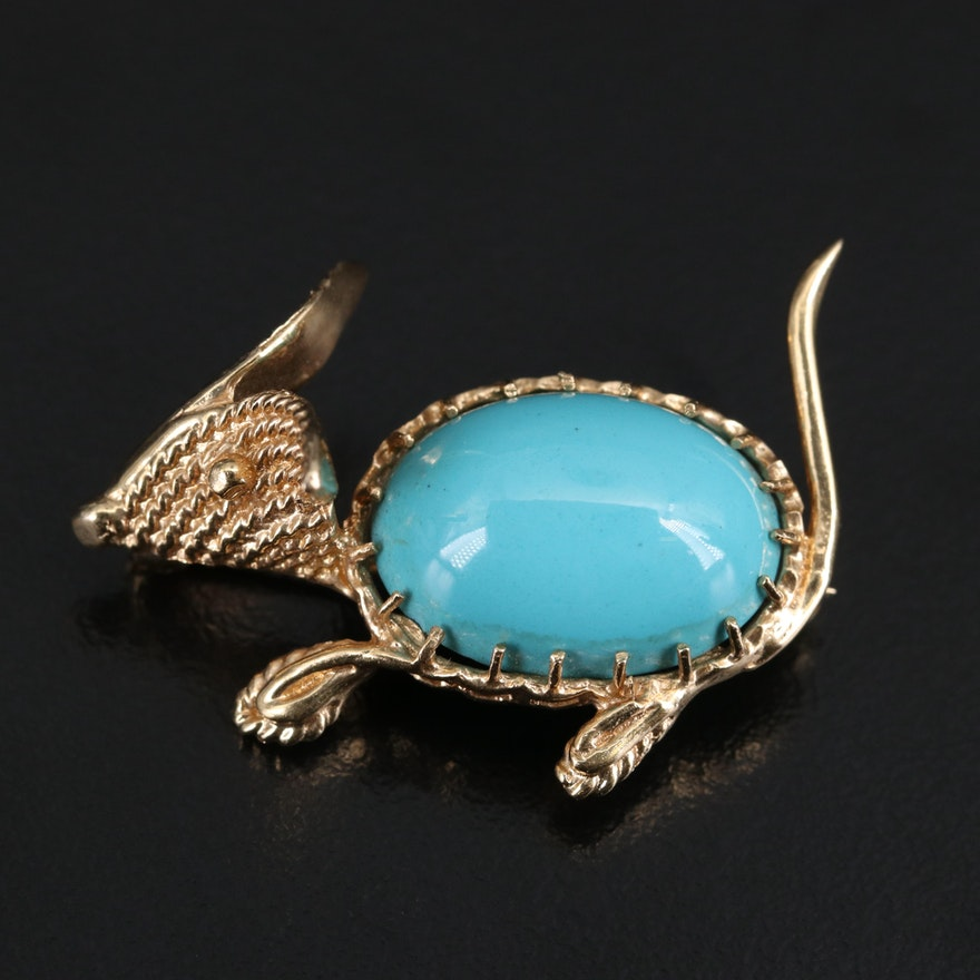 14K Imitation Turquoise Mouse Brooch
