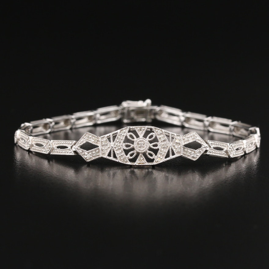 Vintage Style 14K Diamond Openwork Bracelet
