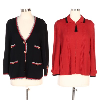 St. John Knitwear Including Zipper Front Collared Jacket and Cardigan