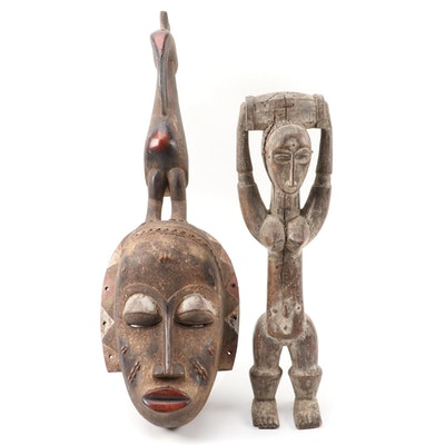 Baule Style Mask and Attie Style Wood Figure, West Africa