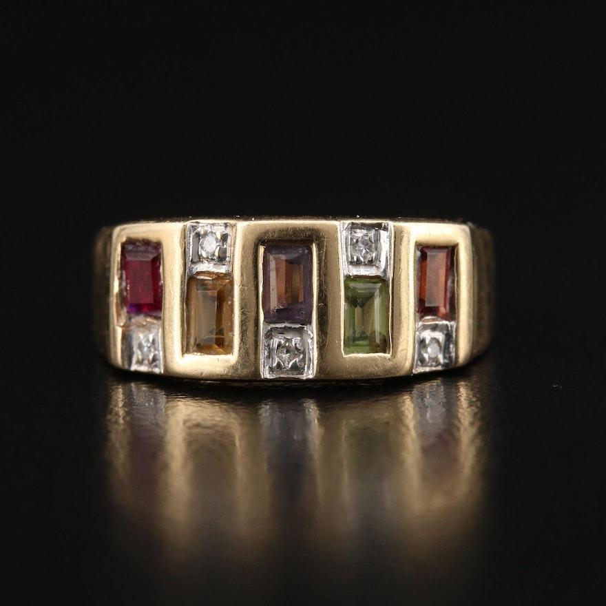 14K Diamond and Mixed Gemstone Ring