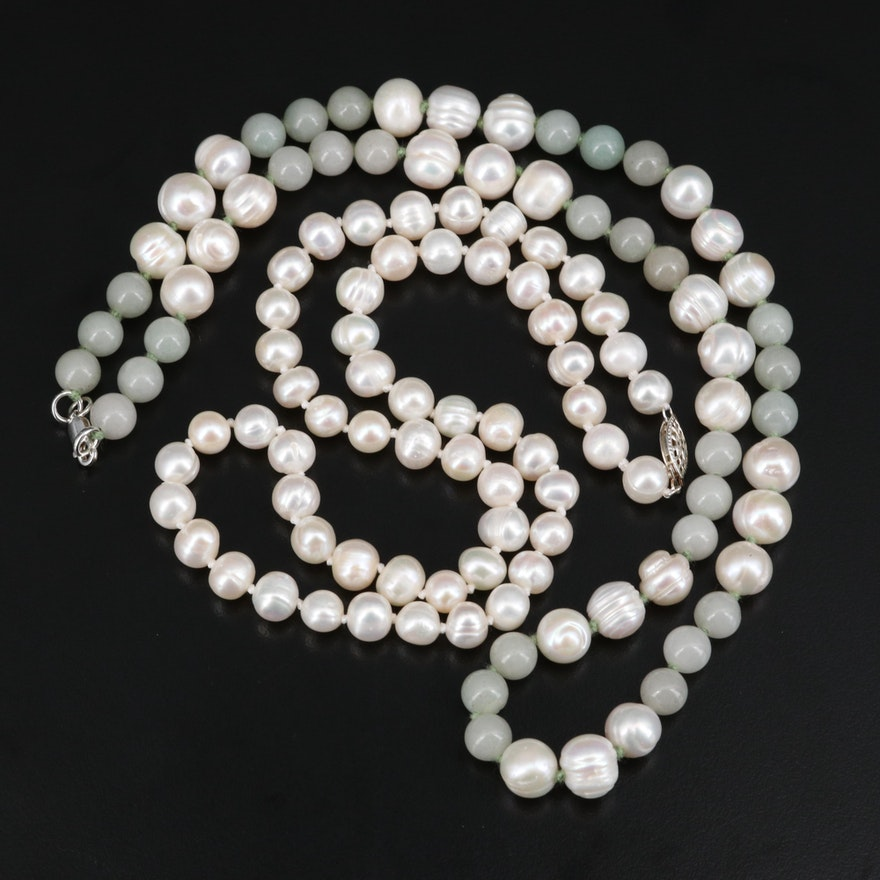 Pearl and Quartzite Beaded Necklaces with Sterling Clasps