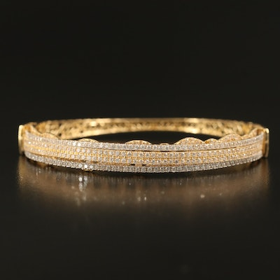 18K Crossover Hinged Bangle with Cubic Zirconia