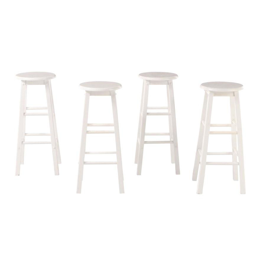 Four White-Painted Counter-Height Bar Stools
