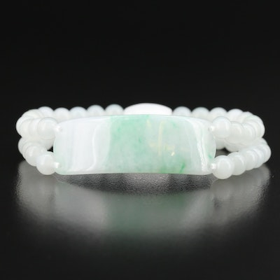 Expandable Beaded Jadeite Bracelet
